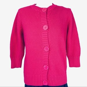 L.L. Bean Pink Chunky Cotton Cardigan Sweater Med